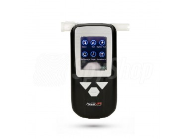 Electrochemical breathalyzer ALCOLIFE F5 PRO with a printer for evidence collection in companies